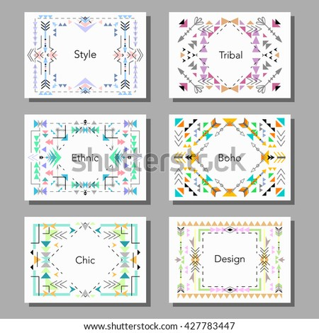 Boho tribal ethnic style cards and frames set. Vector illustration - stock vector