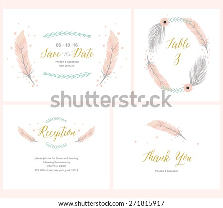 Boho Wedding collection with reception card, thank you card,table card and save the date invitation - stock vector