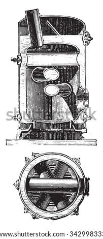 Boiler distillers crossed, vintage engraved illustration. Industrial encyclopedia E.-O. Lami - 1875. - stock vector