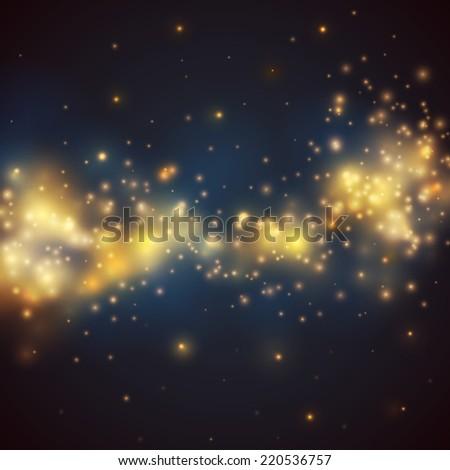 Bokeh vector background - shiny glittering stars - stock vector