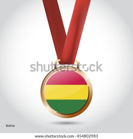 Bolivia Flag in Bronze Medal. Olympic Game Bronze Medal. Vector Illustration - stock vector