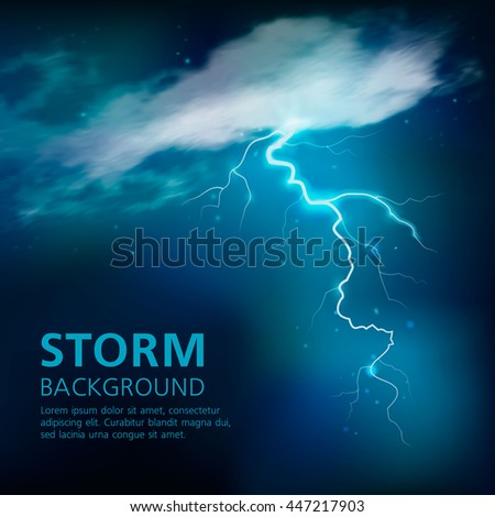 Bolt of lightning background in blue color with illuminated half transparent clouds in night sky vector illustration - stock vector