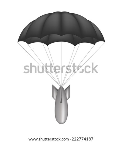Bomb and black parachute - stock vector