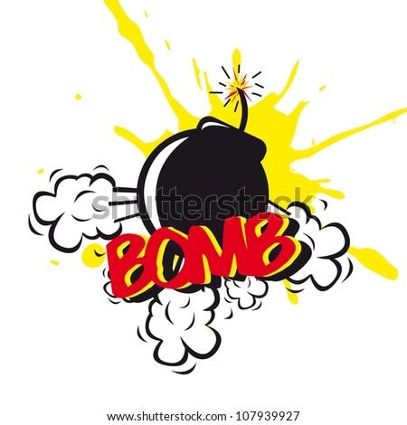 bomb comic over white background. vector illustration - stock vector