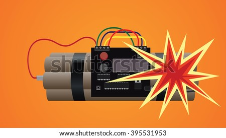 bomb dynamite explosion illustration - stock vector