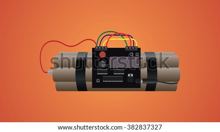bomb dynamite isolated with timer and wire and orange background - stock vector