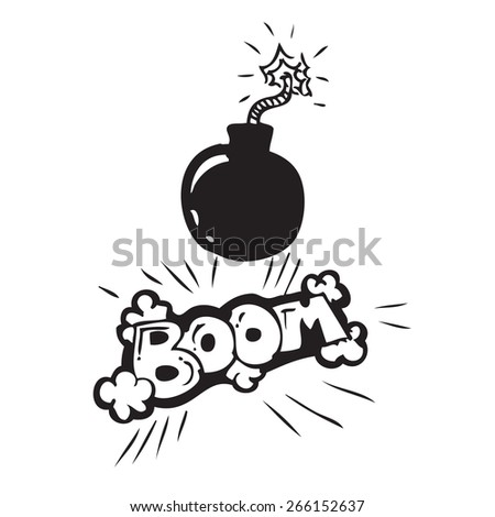 Bomb with Sign Doodle - stock vector