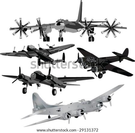 bombers silhouett - vector - stock vector