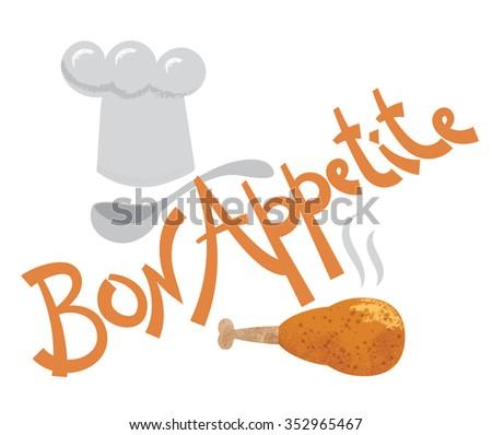 bon appetite inscription - stock vector