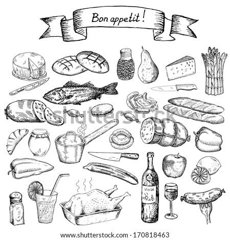 bon appetite. set of vector sketches - stock vector