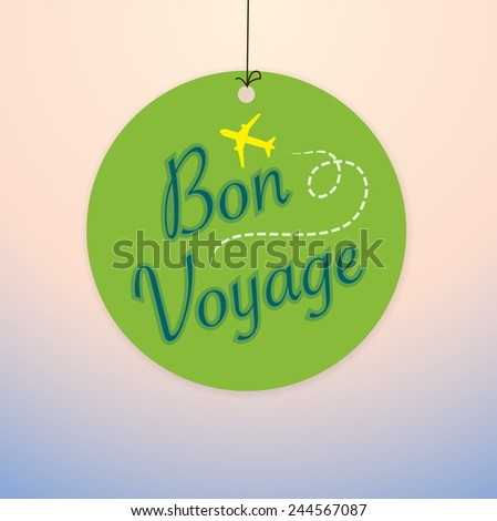 Bon Voyage - Vector Paper tag / sticker - stock vector