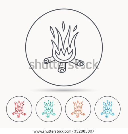 Bonfire icon. Fire sign. Linear circle icons. - stock vector