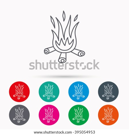 Bonfire icon. Fire sign. Linear icons in circles on white background. - stock vector