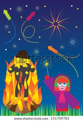Bonfire Night, Fireworks and Guy Fawkes - stock vector