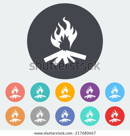 Bonfire. Single flat icon on the circle. Vector illustration. - stock vector