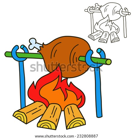 Bonfire with grilled beef. Coloring book page. Cartoon vector illustration. - stock vector