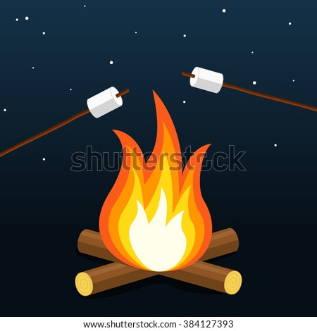 Bonfire with marshmallow. Camping grill marshmallow. Marshmallow outdoor campfire night. Vector Illustration - stock vector