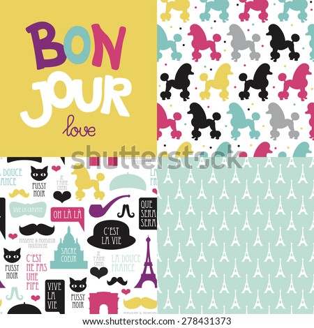 Bonjour love Paris theme postcard cover design and French illustration background pattern in vector - stock vector