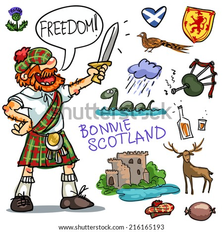 Bonnie Scotland cartoon collection, funny Scottish man with sword - stock vector