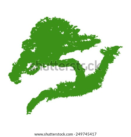 Bonsai mini tree flat icon - stock vector