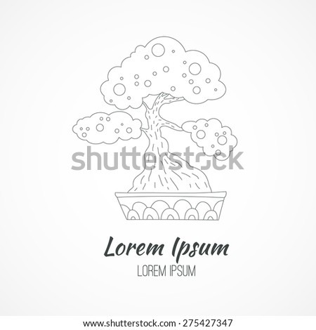 Bonsai - traditional Japanese symbol. Eco branding identity element. Vector logo design concept. Isolated high quality vector graphic. - stock vector