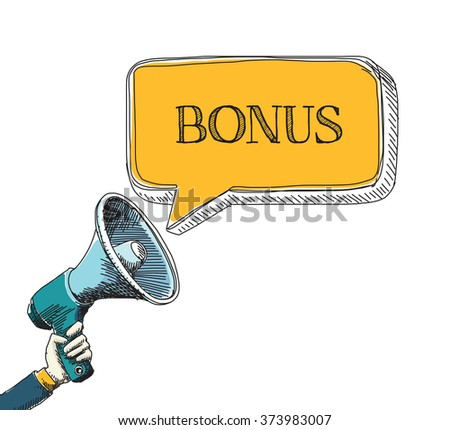 BONUS word in speech bubble with sketch drawing style - stock vector