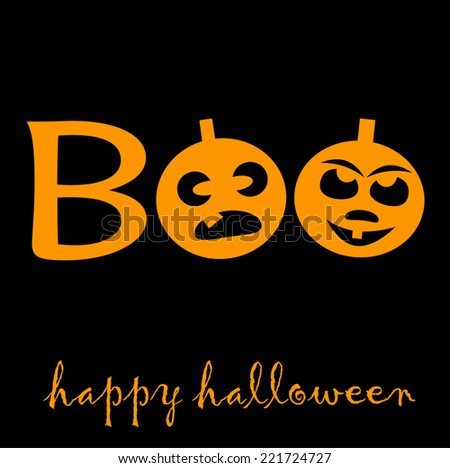 Boo for Halloween with two pumpkin latern - stock vector