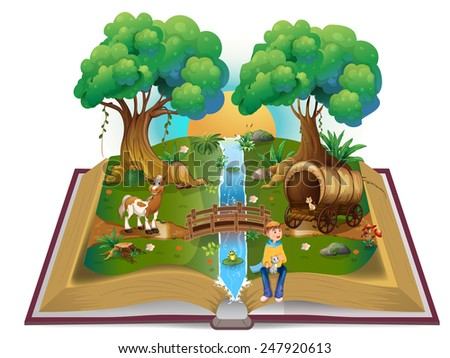 Book about magical forest - stock vector