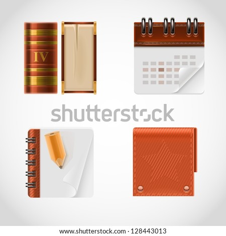 book and calendar vector icon set - stock vector