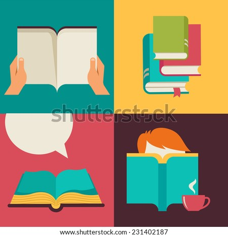 Book and reading concept design backgrounds - stock vector