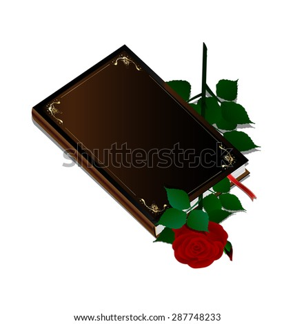 book and rose - stock vector
