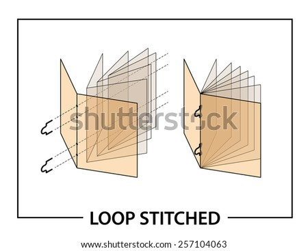 Book binding technique: loop stitched. - stock vector