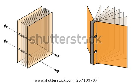 Book binding technique: screw bound. - stock vector