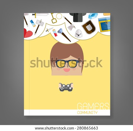 book cartoon doodle man rectangle play games game weapon icons, vector illustration - stock vector