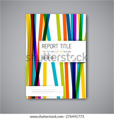 Book cover template with color stripes. - stock vector