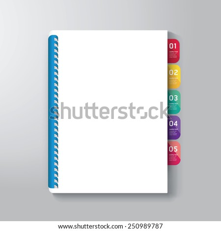 Book Cover with Tab Design Style Template / can be used for E-Book Cover/ E-Magazine Cover/ vector illustration - stock vector