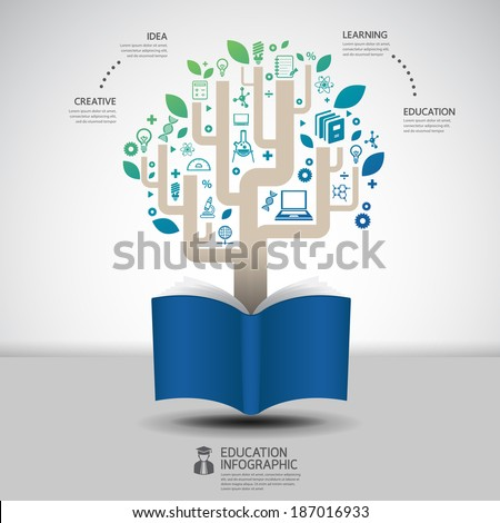 book diagram creative paper cut style infographic concept design template graphic  - stock vector