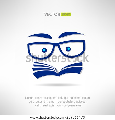 Book face with glasses icon. Learning and reading concept. Vector illustration - stock vector