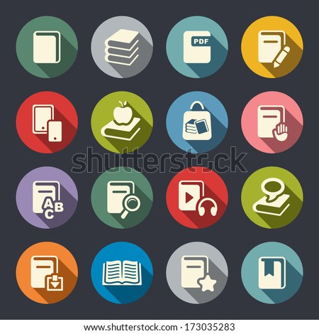 Book flat icons set - stock vector