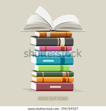 Book Flat Icons Set. Vector Illustration. - stock vector