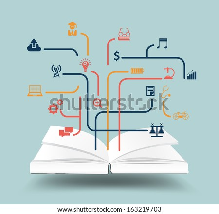 Book for different purposes with icon idea concept, Vector illustration modern design template, workflow layout, diagram, step up options - stock vector