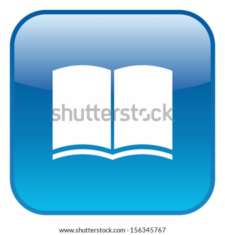 Book icon (glossy rounded button, blue version) - stock vector