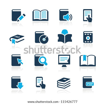 Book Icons // Azure Series - stock vector