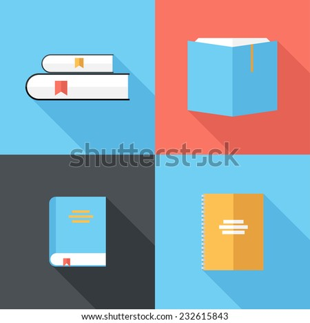 book icons. Flat design style modern vector illustration. Isolated on stylish color background. Flat long shadow icon. Elements in flat design. - stock vector