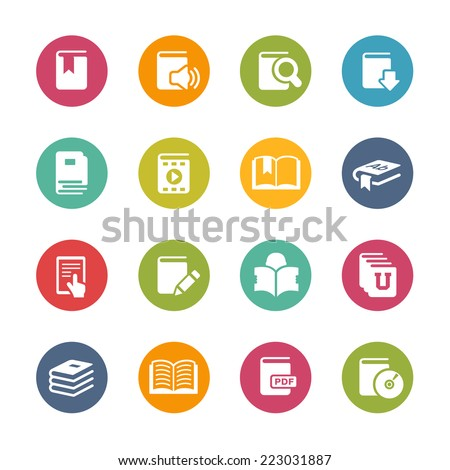Book Icons // Fresh Colors Series ++ Icons and buttons in different layers, easy to change colors ++ - stock vector