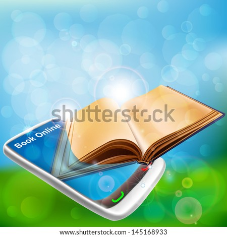 Book in Smart phone. Book online - stock vector