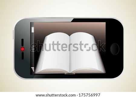 Book in Smartphone. Illustration of a realistically ebook on an smartphone - stock vector