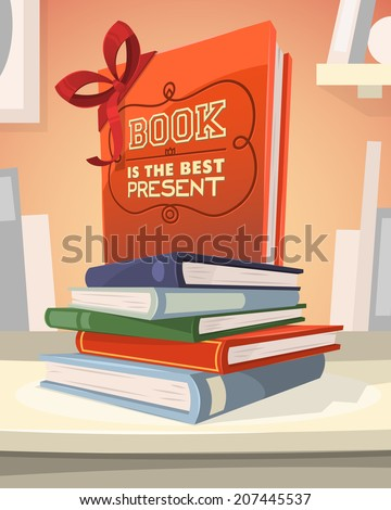 Book is the best present. Vector illustration. - stock vector