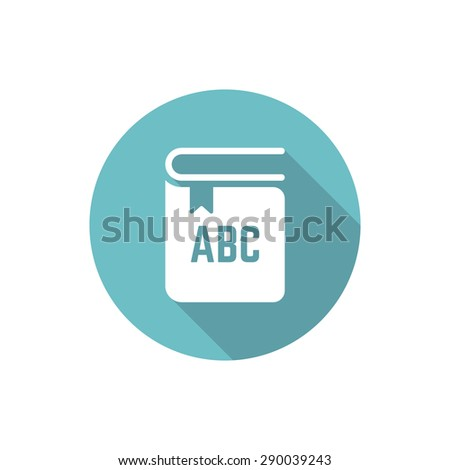 Book isolated vector round flat icon with long shadow - stock vector