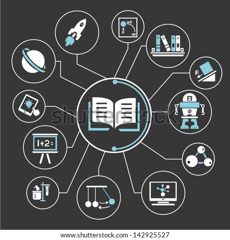 book, knowledge mind mapping info graphic - stock vector